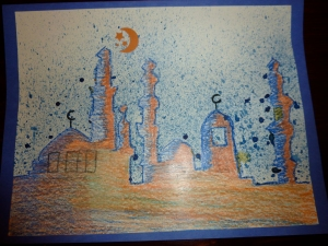 Mosque Skyline Splatter Art